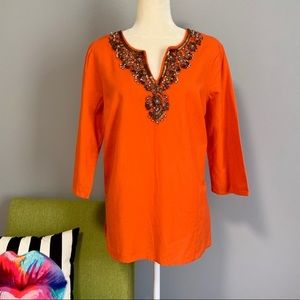 Michael Kors Orange Tunic with Beaded Neckline C6